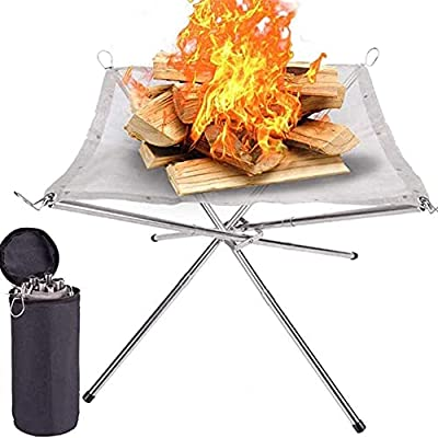 Fire Bowls, Portable Fire Bowls, Camping Foldable Stainless Steel Fire Basket, Stainless Steel Mesh Fi, Fire Pit for Camping, Outdoor, Patio, Backyard and Garden from Huaxiangoh