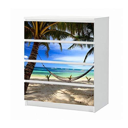 Set Möbelaufkleber für Ikea Kommode MALM 4 Fächer/Schubladen Hängematte Urlaub Meer Wasser Strand Sand Palme Aufkleber Möbelfolie sticker (Ohne Möbel) Folie 25B1670