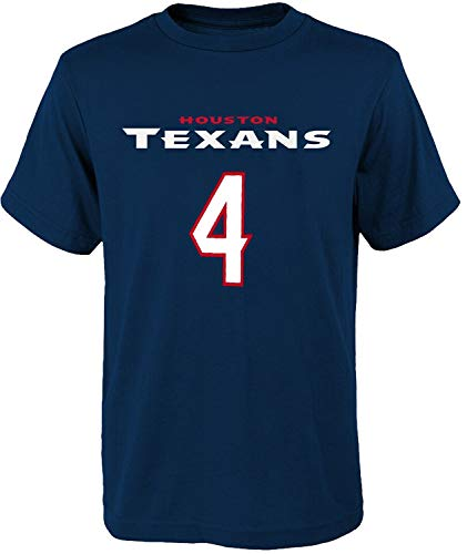 NFL Kids Youth Team Color Alternate Mainliner Name and Number Player T-Shirt (Medium (10-12), Deshaun Watson Houston Texans Home Navy)