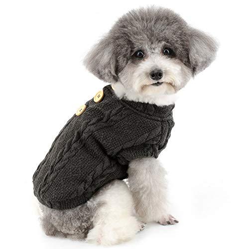 ZUNEA Pull Chaud pour Petit Chien Chiot Pull-Overs Manteau d'hiver Doublé Polaire Motif Tricot Chat Veste Vêtements pour Animaux Chihuahua Yorkshire Gris S