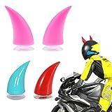ZNEU Motorcycle Helmet Demon Horn Sucker Accessories - Corna Diavoletto da Applicare al Casco da Sci, Moto, Adulto, Bambino Helmet (Rosa)