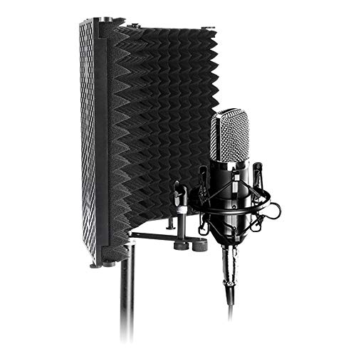 OurLeeme Escudo de aislamiento de micrófono, Panel de grabación vocal con absorción de sonido plegable Reflector de espuma con absorción de sonido para equipos de grabación