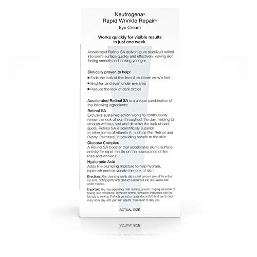 41gHX72n+QL - Neutrogena Rapid Wrinkle Repair Hyaluronic Acid Retinol Under Eye Cream - Anti Wrinkle Eye Cream for Dark Circles & Puffiness & Under Eye Bags - Hyaluronic Acid, Glycerin & Retinol Cream, 0.5 fl. oz