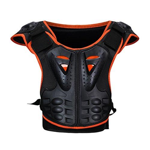 Dexinx Motorrad Rüstungs Weste Kind Sleeveless Straßen Fahrrad Kasten Rückenschutz stilvolle kühle Fahrrad Weste Schutz Orange Schwarz S