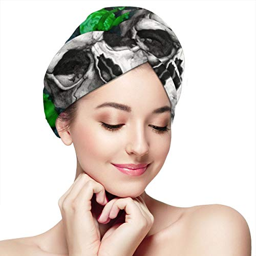 Sugar Skull Green Flowers Love Microfiber Hair Towel Wraps with Button for Women Quick Dry Anti-frizz Head Turban for Long Thick Curly Hair Super Absorbent Soft Bath Cap 11 inch X 28 inch