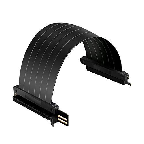 PCI-E x16 tarjeta elevadora, cable de extensión PCI Express 3.0, 90 grados negro PCIE Extensor (PCI-e 16X 90 grados Cable 9.8in)