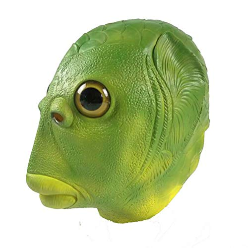 Tixiyu Cosplay Kostüm Kopfbedeckung Grün Fisch Kopf Abdeckung Kopfbedeckung Lustige Party Latex Maske Ideal für Halloween Cosplay Kostüm Party und Film Prop