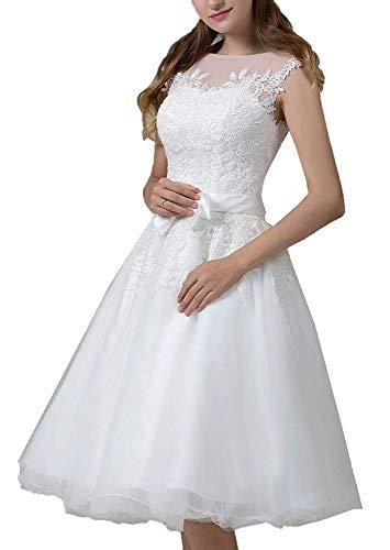 YASIOU Hochzeitskleid Damen Schlicht A Linie Kurz Spitze Tüll Standesamt Vintage Brautkleider Knielang Hochzeitskleider