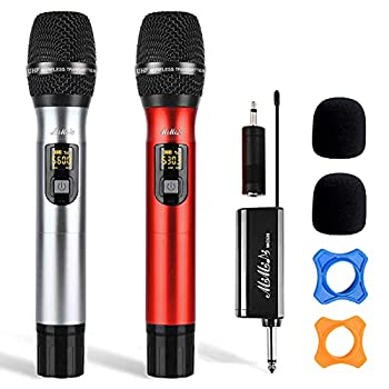 Wireless Microphone - Dual Handheld UHF Portable Dynamic System with Rechargeable Receiver MIMIDI Karaoke Mic for Singing Machine,PA,Speaker,Party,Church,Meeting,260ft  MIC520