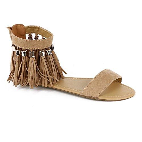 Chatties Women's Tassel Sandal (11 B(M) US, Tan Tassel)