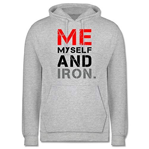 Fitness & Workout - Me, Myself and Iron. - XXL - Grau meliert - Statement - JH001 - Herren Hoodie und Kapuzenpullover für Männer