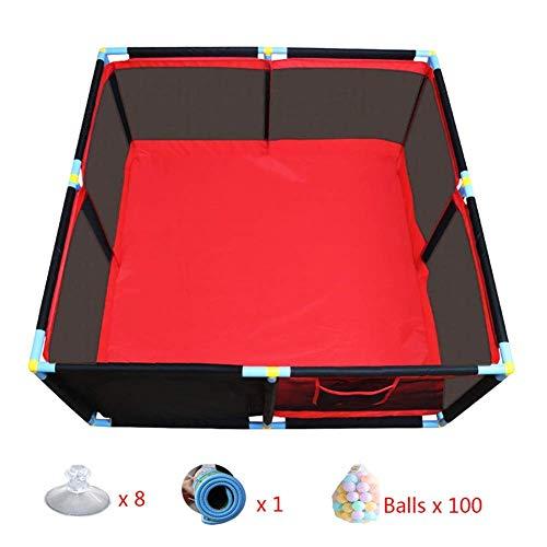 XHJYWL Parc de Jeux pour bébé Baby Play Yard Infant Mesh Safety Fence Jouet Play Tente avec Matelas Balle pour Tout-Petits garçons Filles, Rouge 66cm de Haut (Taille: 128x128x66cm)