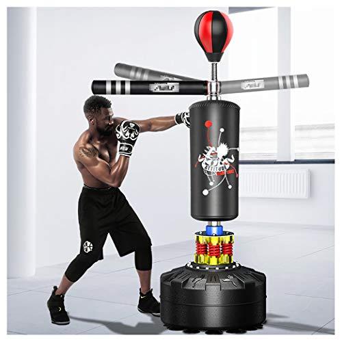 Saco De Boxeo De Soporte Pesado con Barra Reflectante De 360 °, Saco De Velocidad De Bola De Boxeo, Saco De Boxeo Independiente con Base De Armadura De 12 Ventosas(Color:Negro)