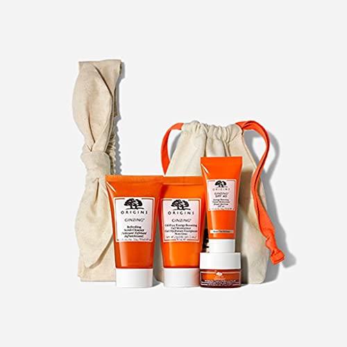 Origins Ginzing Skincare Travel Set: Cleanser, Eye Cream, Energy-Boosting Gel Moisturizer and SPF 40 Moisturizer