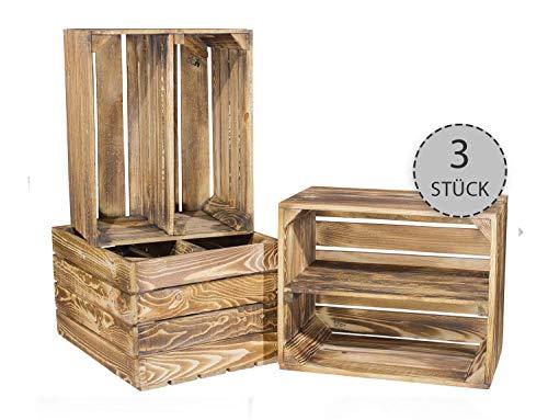 Vintage-Möbel24 3er Set Obstkisten mit Zwischenbrett – geflammt – Holzkisten als Schuhregal 50x30x40cm
