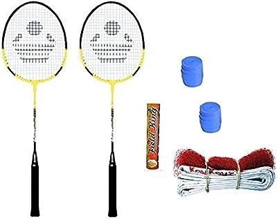 Cosco CB-90 Badminton Kit 2 Rackets, 2 Grip, 1 Nylon Net,1 Fielding shuttle cock(Multicolour)Set of 10