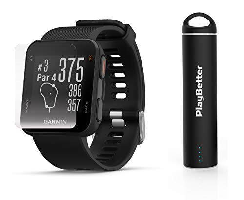 Garmin Approach S10 (Black) Golf GPS Watch Power Bundle | Includes HD Screen Protectors & PlayBetter Portable Charger | 40,000 Pre-Loaded Worldwide Courses, Simple Golf GPS Watch