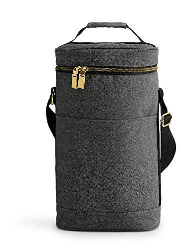 Sagaform Two-Bottle Wine Cooler with Adjustable Strap, Gray 5017387 Weinkühler für 2 Flaschen, verstellbar, Polyester, Grau