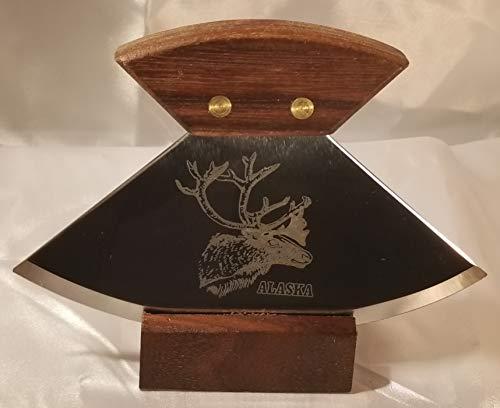 15,2 cm Walnuss Ulu mit Karibu Kopf Ätzmesser