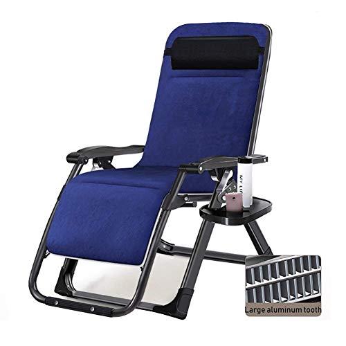 GCZZYMX - Tumbona reclinable de gravedad cero para patio o patio, gran tamaño, con cojín, resistente y acolchada, para camping en la playa, soporte de 400 libras, almohadilla de ante