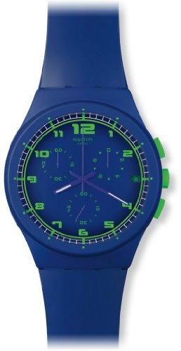Swatch Unisex-Armbanduhr Chrono Plastic Blue C Chronograph Silikon SUSN400