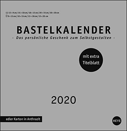 Bastelkalender silber groß. Bastelkalender 2020. Monatskalendarium. Spiralbindung. Format 32 x 33 cm