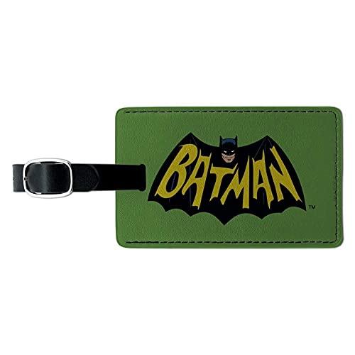 Batman Classic TV Series Logo rectángulo cuero equipaje tarjeta de equipaje etiqueta de identificación