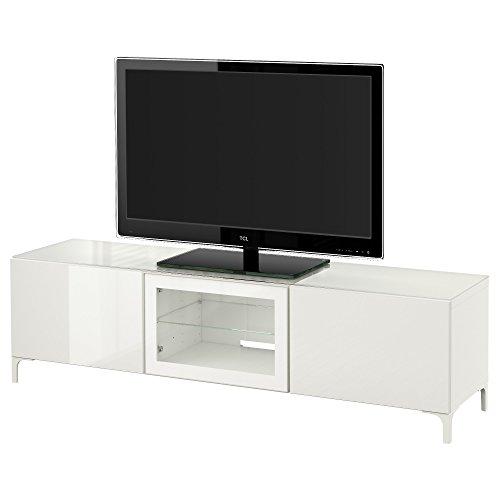 IKEA BESTA - TV Bank met deuren wit / selsviken hoogglans / wit helder glas