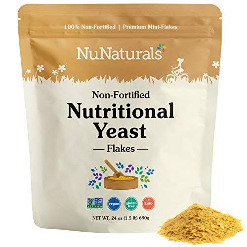 NuNaturals Nutritional Mini Yeast Flakes Bulk 24 oz | Non-Fortified, Plant Based Protein, Vegan Cheese Powder Substitute, Versatile Seasoning