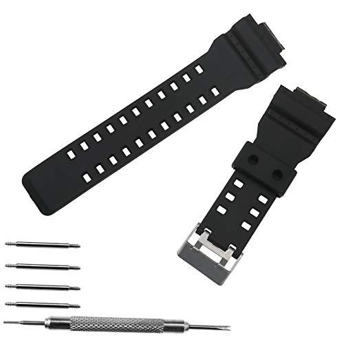 ENET Correa de repuesto para reloj de pulsera de poliuretano negro esmerilado con cierre impermeable ✅