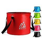 MNT10 Cubo plegable para exteriores de 15 o 20 l, cuenco plegable de tela de lona resistente, como cuenco para fregadero de camping, fregadero (rojo 15 L)