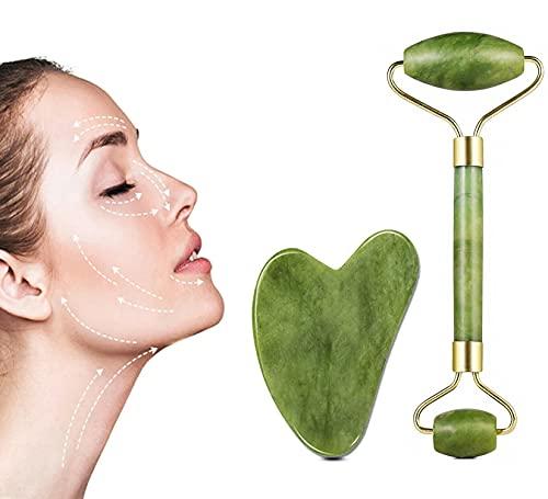 Jade Roller & Gua Sha Massage Set, Anti-Aging Natural Jade Face Roller Set - Face Eye Neck Beauty Roller for Slimming & Firming - Rejuvenate Skin & Remove Wrinkles