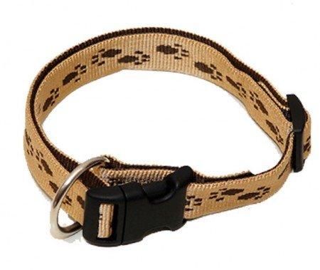 Hundehalsband, Wienerlock®, Soft Nylon, Beige, Braune Pfötchen, 55-90cm, 25mm, mit Zugentlastung