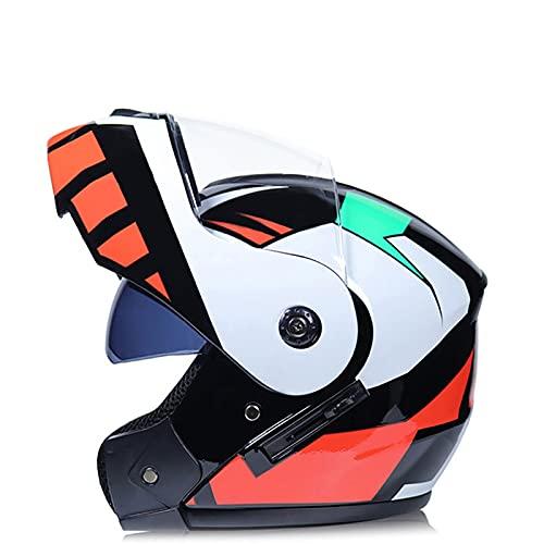 Cascos de Motocicleta Casco para Moto Casco Integral con Antivaho Doble Visera Transpirable Prueba de Viento para Hombres Mujeres Adultos,Certificación DOT/ECE I,XL=60~61CM