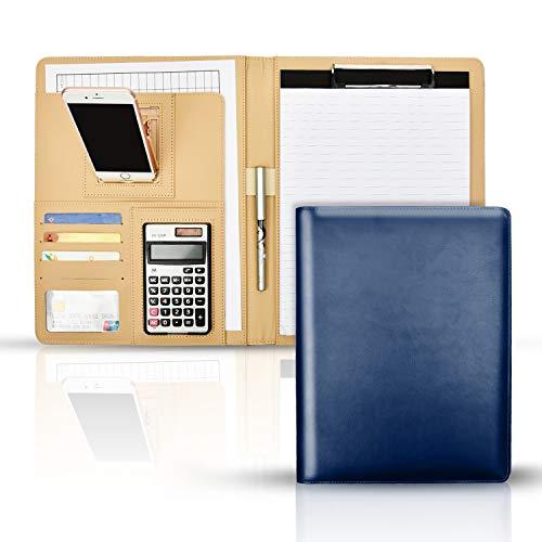 バインダー A4 クリップボード クリップファイル 12桁電卓付き ホルダー付き 軽量 高級感 360度折り返し 多機能フォルダー 書類契約フォルダー カード名刺入れ 事務用品 オフィス 入職プレゼント