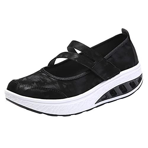 QIUTIANQ Zapatos Casuales De Tacón De Cuña con Plataforma De Colchón De Aire,Zapatillas Outdoor De Piel Elástica,Zapatos Planos De Mujer Transpirables Sin Cordones (Negro, 39.5)