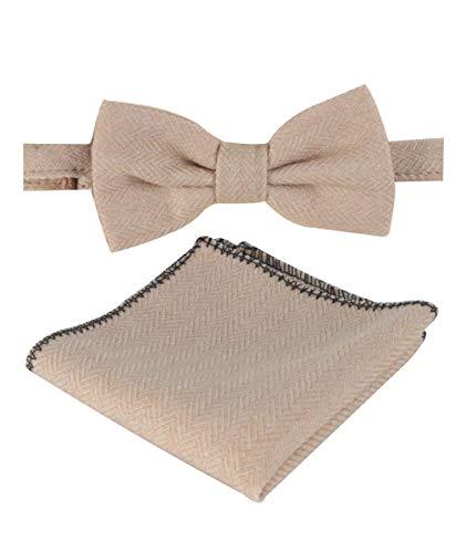 SIRRI Fliege und Taschentuch für Jungen und Herren, Fischgrätmuster, Tweed, Schwarz Gr. onesize, beige