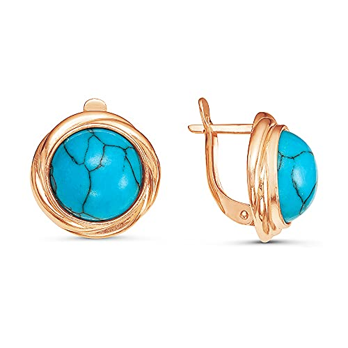 Mirkada - Pendientes de plata para mujer, chapados en oro con turquesa, color azul