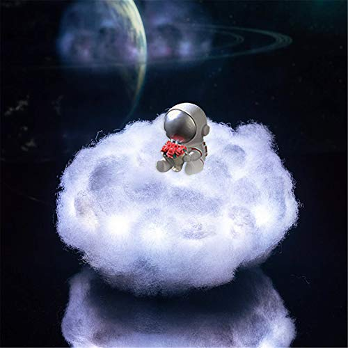Lámpara de astronauta LED colorida, adornos de astronauta, nubes con luces LED con control remoto, luz de noche de dormitorio, luz de nube de astronauta utilizada para decoración (Flor monocromática)