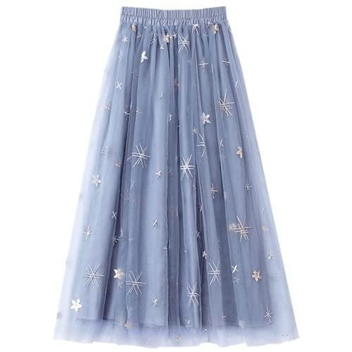 Falda de tul con lentejuelas para mujer, falda de tutú de malla transparente y longitud media, Azul / Patchwork, Small