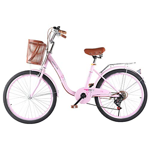 TRGCJGH Bicycle Adult Ladies Speed Ordinary Retro Lightweight Bicycle 6 Speed 20 Inches, 22 Inches, 24 Inches,C-24inches