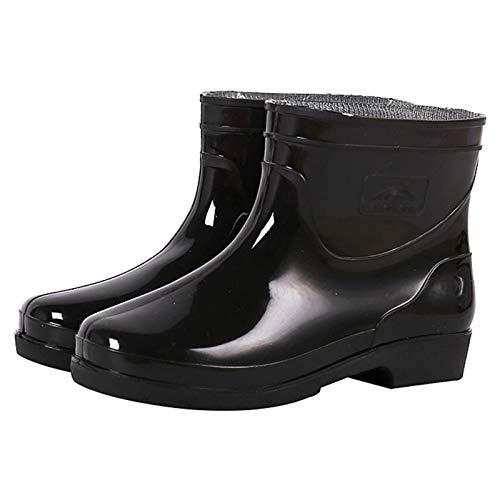 LWZ Botas de Lluvia Cortas para Hombres y Mujeres, Botas de Agua a Media Pantorrilla para jardinería de Trabajo con Barro, Negro