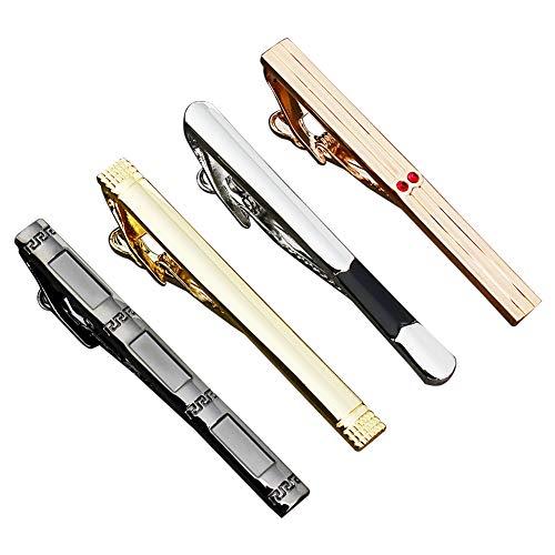 4本セットタイピン人気メンズネクタイピンシンプル日常仕事 結婚式タイピン おしゃれ 高級ネクタイクリップ ギフトボックスを提供