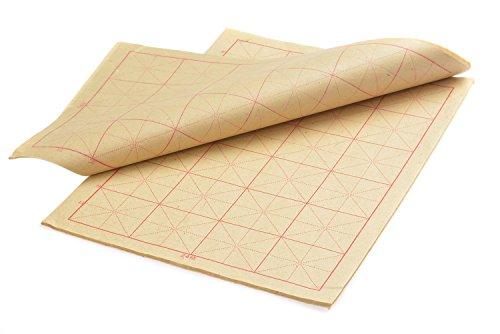 Kalligraphie Papier mit Führungslinien, 8K, 6 x 4 Felder = 24 Felder, 35cm x 23cm, 50 Blatt, braun, Mod. XZMG-8K-24