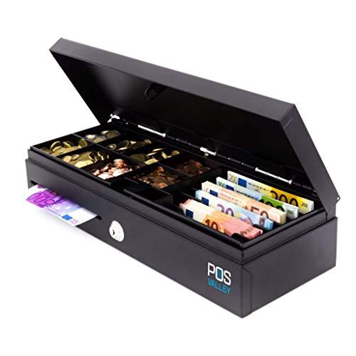 POS VALLEY – Cajón de contacto Flip-Top Apertura vertical automática para puntos de impresión y grabadora de caja, 460 x 170 x 100 mm, negro, 12 V/24 V RJ automático, uso estándar