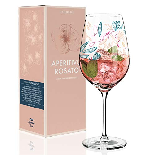 RITZENHOFF Aperitivo Rosato Aperitifglas von Véronique Jacquart, aus Kristallglas, 600 ml, mit trendigen Dekoren