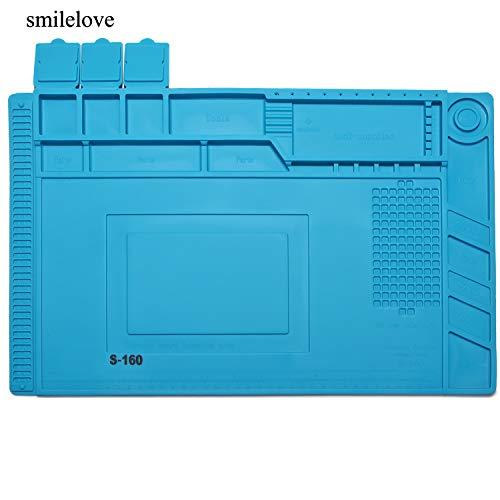 Smilelove Tappetino per saldatura 500 ℃ resistente al calore Antiscivolo inodore mat tappetino di riparazione in silicone per Riparare saldatura di componenti elettronici o elettronica (45x 30 CM)