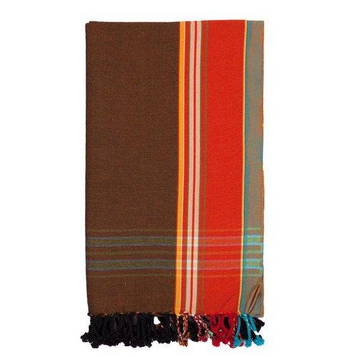 Kikoy | Marrón con borde rojo | 100% algodón | Ropa tradicional de África Oriental | Pareo | Kikoi