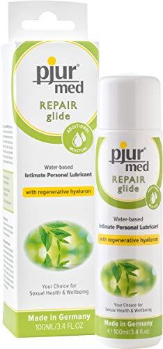 pjur med REPAIR glide - Medizinisches Gleitgel auf Wasserbasis - Hyaluron ermöglicht die Regeneration trockener und beanspruchter Haut (100ml)