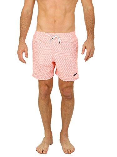 UZZI Malibu Herren Badehose, schnelltrocknend, bedruckt, kurze Badehose - Pink - XX-Large